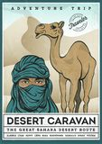 Illustrated poster of desert tourism. Vector illustration Stock Photo