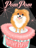Illustrated poster of a Pomeranian dog. And fictitious cosmetic brand advertisement Royalty Free Stock Image