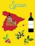 Illustrated poster of Spain. Spanish landmarks. Illustrated poster of Spain. Spain concept image Vector Illustration