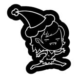 Quirky cartoon icon of a undead vampire girl wearing santa hat. Illustrated quirky cartoon icon of a undead vampire girl wearing santa hat vector illustration