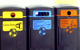 Illustrated recycling bins. A waste recycling centre with illustrated bins Royalty Free Stock Photography