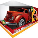 Illustrated red fire rescue truck toy. In box isolated on white Royalty Free Stock Images