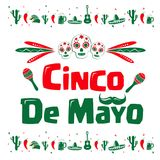 Cinco de Mayo sign. Illustrated red and green text graphics Cinco de Mayo with colorful Mexican icons on white stock illustration