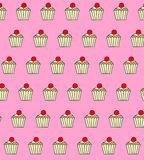 Illustrated repetitive cupcake design wallpaper. Illustrated repetitive cupcake design pattern Royalty Free Stock Photography