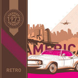 Illustrated retro background. Illustrated retro background in american style Stock Photos
