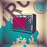 Illustrated retro background. Illustrated retro background with tv Stock Images
