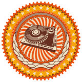 Illustrated retro emblem. Illustrated retro emblem with turntable Royalty Free Stock Photos