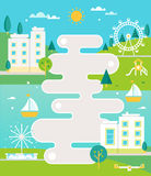Illustrated Road Map and Town on River Landscape with Apartment Blocks, Fountain and Park. Infographics or Poster Layout Stock Photo