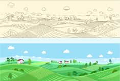 Illustrated rural country scene Stock Photos