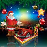 Illustrated Santa with red fire truck. Illustrated Santa Claus standing under Christmas tree with red fire truck toy with copy space Royalty Free Stock Image