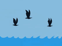Illustrated Sea Birds Soar Over Waves Stock Image