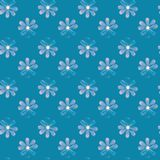 Illustrated seamless blue background with daisies. Illustrated seamless abstract blue background with daisies, repeat pattern, wallpaper royalty free illustration