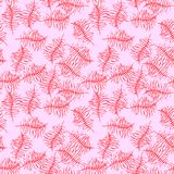 Illustrated seamless background with red branches. Illustrated seamless pattern with red branches on a pink background Stock Photo