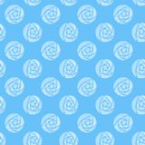Illustrated seamless background with roses mackintosh on blue. Illustrated abstract seamless background with white roses mackintosh on blue Stock Photography