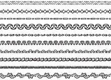 Illustrated seamless borders. Set of ten illustrated decorative seamless borders made of hand drawn elements in black Stock Illustration