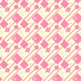 Illustrated seamless geometric background, pink on yellow. Light coloured, repeat pattern Stock Images