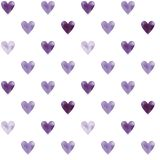 Illustrated seamless pattern with purple hearts on a white backg Royalty Free Stock Photo