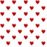 Illustrated seamless pattern with red hearts on a white backgrou. Nd Stock Image