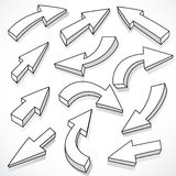 Illustrated set of arrows Royalty Free Stock Images
