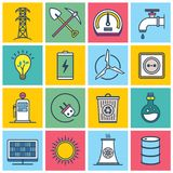 Colorful Energy Icons. An illustrated set of different colorful energy icons Royalty Free Illustration