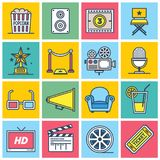 Colorful Movie Icons. An illustrated set of different colorful film industry icons Stock Photos