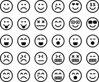 Set of emoticons. Illustrated set of emoticons with different expressions, white background Stock Photos