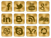Golden icons Social set. An illustrated set of 12 large social gold icons set for web, facebook, twitter and other industries Stock Image
