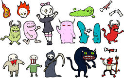 Illustrated set of monsters Royalty Free Stock Photo