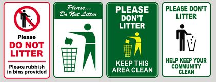 Illustrated set of no littering signs. Set of illustrated no littering signs with trash cans and people Stock Photography