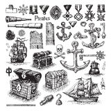 Illustrated set of pirate items and sketches. Vector illustrated set of sketched pirate icons on white background Royalty Free Stock Photos