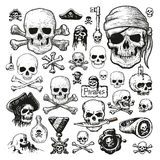 Illustrated set of pirate skulls. Vector illustrated set of pirate skulls on white background Stock Photo