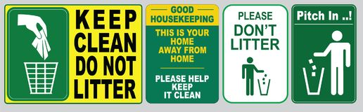 Illustrated set of no littering signs. Illustrated set of signs for no littering in green, yellow and white Stock Image