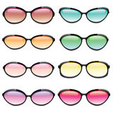 Colorful Set of Sunglasses. Illustrated set of sunglasses in different fashion styles and lens colors Stock Photos