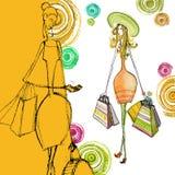 Illustrated shopping women Stock Image