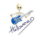 Illustrated skeleton with blue electric guitar Halloween Royalty Free Stock Photography
