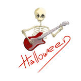 Illustrated skeleton with red electric guitar Halloween Stock Images