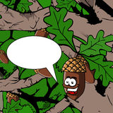 Illustrated smiling acorn with speech bubble Royalty Free Stock Images