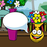 Illustrated smiling flowerpot with speech bubble Royalty Free Stock Image