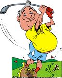 Old golfer. Illustrated smiling old golfer on the white background Stock Photo