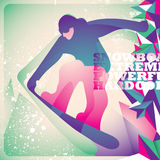 Illustrated snowboarding background. Royalty Free Stock Photography