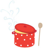 Illustrated soup pot. Illustration of a hot soup in and red pot with white dots Stock Photos