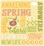 Illustrated Spring word collage design Stock Photo