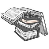 Illustrated stack of books. An illustrated view of several books piled on top of each other with the top one open.  Gray tones on white background Royalty Free Stock Images