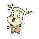 Sticker of a cartoon undead monster man. Illustrated sticker of a cartoon undead monster man vector illustration