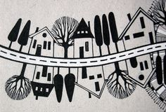 Illustrated street with houses and trees. In black and white vector illustration