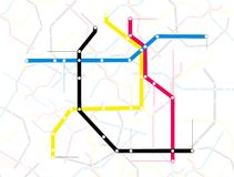 Illustrated subway map Stock Photos