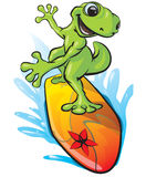 Illustrated surfing frog. A delightful illustration or cartoon of a happy green frog on a colorful surfboard Royalty Free Stock Image