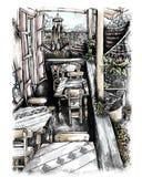 Illustrated tavern interior. Illustrated interior of an old tavern or restaurant vector illustration