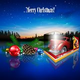 Christmas greeting with toys. Illustrated toy truck and Christmas ornaments with Merry Christmas greetings on starry skies Royalty Free Stock Photos