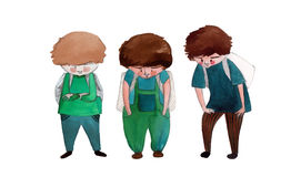 Illustrated cute little boys Stock Photo